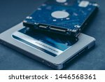 ssd drive and 2.5 hdd drive....   Shutterstock . vector #1446568361