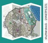 design map city gps with... | Shutterstock .eps vector #1446591221