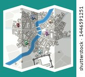 design map city gps with... | Shutterstock .eps vector #1446591251