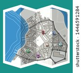 design map city gps with... | Shutterstock .eps vector #1446591284