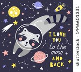 cute card with raccoon...   Shutterstock .eps vector #1446601331