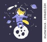 cute card with fox astronaut ...   Shutterstock .eps vector #1446601334