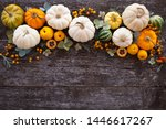 Wooden Background With Pumpkins ...
