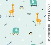 seamless pattern with animals... | Shutterstock .eps vector #1446617774