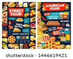 fast food vector menu of street ... | Shutterstock .eps vector #1446619421