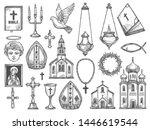 christian religion symbols and... | Shutterstock .eps vector #1446619544