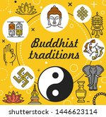 buddhist traditions vector... | Shutterstock .eps vector #1446623114