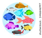vector colorful cartoon fish in ... | Shutterstock .eps vector #1446646997