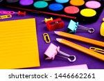 school office supplies... | Shutterstock . vector #1446662261