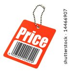 close-up of a price tag with fake bar code on white, photo does not infringe any copyright - stock photo