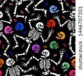seamless pattern. skeletons...   Shutterstock .eps vector #1446707201