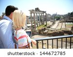 couple of tourists using tablet ... | Shutterstock . vector #144672785
