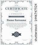 certificate of appreciation... | Shutterstock .eps vector #1446747524