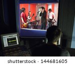 band in recording studio with...   Shutterstock . vector #144681605