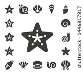 Mollusk Icon Set. 17 Filled...