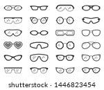 glasses silhouette icons set.... | Shutterstock .eps vector #1446823454