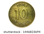 10 Won (thick 10) coin, 1962-Today Circulation serie, Bank of South Korea. Obverse, issue 1991