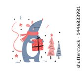 rat or mouse with a christmas... | Shutterstock .eps vector #1446833981