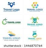 blue green line art logo design ... | Shutterstock .eps vector #1446870764
