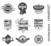 logo coffee retro banner hand... | Shutterstock .eps vector #144689207