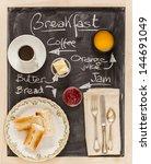 breakfast menu on a blackboard