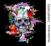 vintage illustration of skull... | Shutterstock .eps vector #1446914051