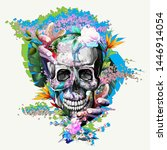 vintage illustration of skull...   Shutterstock .eps vector #1446914054