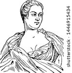 pompadour  vintage engraved... | Shutterstock .eps vector #1446915434