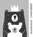 cute hand drawn big bear and... | Shutterstock .eps vector #1446938087