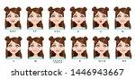 cute cartoon brunette girl... | Shutterstock .eps vector #1446943667