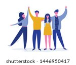 group of smiling teenage boys... | Shutterstock .eps vector #1446950417