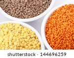 three kinds of lentil in bowls  ... | Shutterstock . vector #144696259