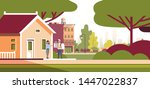 woman receiving order from man...   Shutterstock .eps vector #1447022837