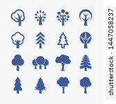 flat vector trees set.... | Shutterstock .eps vector #1447058237