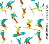 seamless ski pattern | Shutterstock .eps vector #144711721