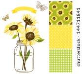 glass jar  sunflowers  ribbon ... | Shutterstock .eps vector #144711841