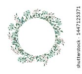 watercolor wreath with... | Shutterstock . vector #1447125371