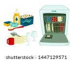 dishwasing clean dishes and... | Shutterstock .eps vector #1447129571