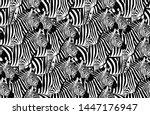 zebra seamless pattern. animal... | Shutterstock .eps vector #1447176947