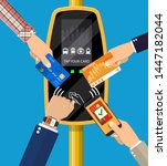 hands with transport card ... | Shutterstock .eps vector #1447182044