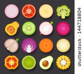 vegetable icon set | Shutterstock .eps vector #144718804