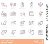 live streaming icons including... | Shutterstock .eps vector #1447215104
