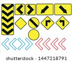 sign icons that are on the road ... | Shutterstock .eps vector #1447218791