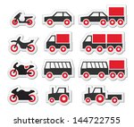 red transport and travel icons... | Shutterstock .eps vector #144722755