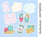 set of communication stickers ... | Shutterstock .eps vector #1447283534