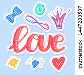 set of love stickers  pins ... | Shutterstock .eps vector #1447283537