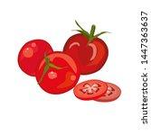 red tomato  raw vegetables.... | Shutterstock .eps vector #1447363637