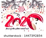 chinese happy new year 2020.... | Shutterstock .eps vector #1447392854