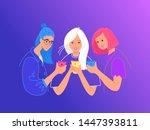 teenage friends using...   Shutterstock .eps vector #1447393811