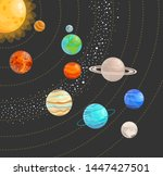 solar system with isolated... | Shutterstock .eps vector #1447427501